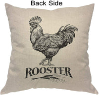 Moslion Rooster Pillows Vintage Farm Animal Poultry Cock Chicken Wheat Throw Pillow Cover Decorative Pillow Case Square Cushion Accent Cotton Linen Home 18x18 Inch Beige