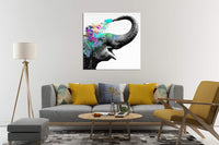 Decorative Art Canvas Print Modern Wall Decor Artwork Pop Elephant Picture Wrapped Wood Stretcher Bars Ready to Hang for Children Room (28X28IN)