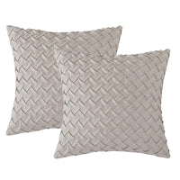 "Longhui bedding 18"" x 18"" Cream Throw Pillow Covers (Set of 2) – Decorative Throw Pillow Cover for 18 inch Sofa, Couch, Chair Pillows – Square Decorative Pillowcase"