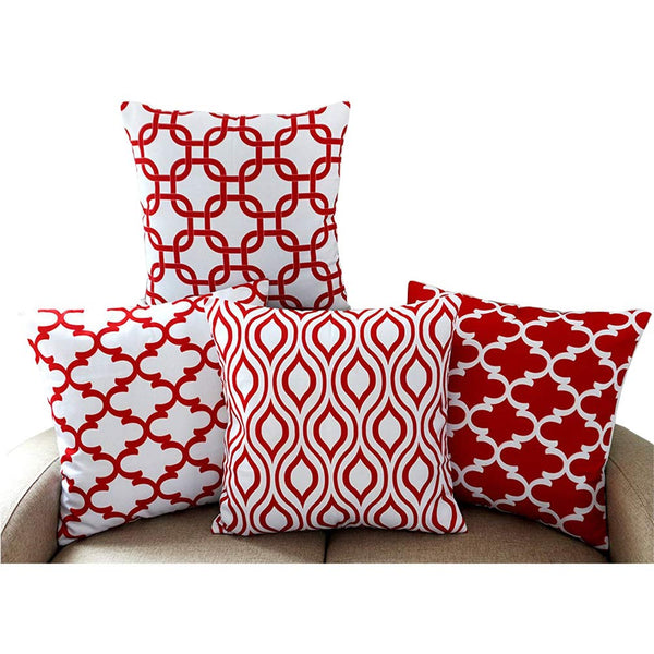Howarmer Canvas Cotton Square Throw Pillows of Red Arrow Pattern, Quatrefoil, Red Trellis and Red Chevron Accent, 18 by 18 Inch, 4-Pack
