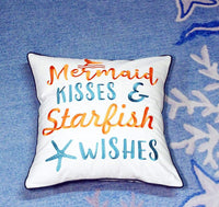 DECOPOW Embroidered Mermaid Kisses & Starfish Wishes Throw Pillow Cover,Square 18 inches Decorative Canvas Pillow Cover with Mermaid Kisses & Starfish Wishes Pattern,Cover Only