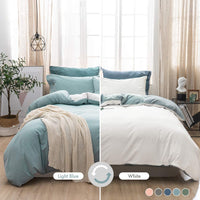 MILDLY 100% Washed Cotton Soft Duvet Cover Set King, Reversible White and Light Blue Solid Color Ruffle Seersucker Casual Design Includes 2 Pillow Cases and 1 Duvet Cover with Zipper & Corner Ties