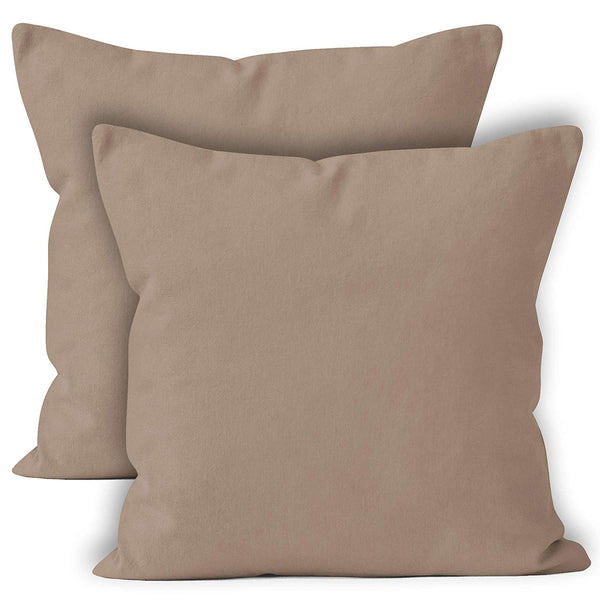 ENCASA Homes Throw Cushion Cover 2pc Set - Beige - 20 x 20 inch Solid Dyed Cotton Canvas Square Accent Decorative Pillow Case for Couch Sofa Chair Bed & Home