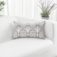 HWY 50 Grey Gray Embroidered Rectangle Decorative Throw Pillow Covers Cushion Cases for Couch Sofa Bed Small Lumbar 12 x 20 inch 1 Piece Floral
