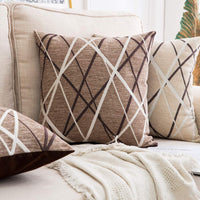 MIULEE Pack of 2 Decorative Throw Pillow Covers Woven Textured Chenille Cozy Modern Concise Soft Light Tan Square Cushion Shams for Bedroom Sofa Car 18 x 18 Inch