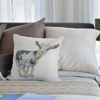 HGOD DESIGNS Babys Smiley Cow Watercolor Throw Pillow Pillowcase 18 X 18 Inches Cotton Linen Farm Cute Animal Pillow Cover