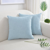 NATUS WEAVER 2 Pack Soft Faux Linen Burlap Throw Pillow Cover Pliancy Decorative Accent Cushion Covers Lumbar Pillowcase for Car, 16 x 16 inch, Light Blue