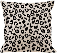 HGOD DESIGNS Leopard Pillow Cover,Decorative Throw Pillow Leopard Print Pillow Cases Cotton Linen Outdoor Indoor Square Cushion Covers for Home Sofa Couch 18x18 inch Black White