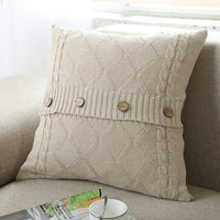 "DONEUS Cable Knit Pillow Cover 18"" x 18"" Soft Warm Square Throw Pillow Case Cushion Cover Decorative Pillow Cover with Buttons/Beige"
