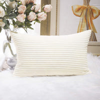 Home Brilliant Decor Decorative Striped Corduroy Solid Cushion Cover Throw Oblong Pillowcase for Sofa Kids Toddler, 12 x 20, Creamy White