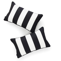 "Hofdeco Decorative Lumbar Pillow Cover INDOOR OUTDOOR WATER RESISTANT Canvas Modern Black Stripes 12""x20"" Set of 2"