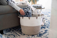 "Little Hippo 2pc Large Cotton Rope Basket (17""x15"") 100% Natural Cotton! Rope Basket, Woven Storage Basket, Large Basket, Blanket Basket Living Room, Toy Basket, Pillow Basket, Round Basket"