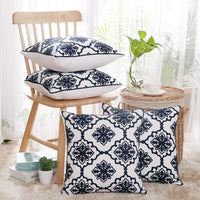 Deconovo Christmas Cushion Cover Square Cushion Covers Cotton Canvas Pillow Cases with Snowflake Patterns Cushion Covers for Nap Navy Blue and White 18x18 Inch Set of 4 No Pillow Insert