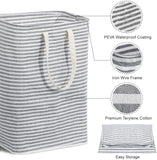 Lifewit Freestanding Laundry Hamper Clothes Hamper Large Basket with Extended Handles for Storage Clothes Toys in Bedroom, Bathroom, Foldable, Grey