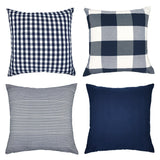 4TH Emotion Blue White Throw Pillow Case Cushion Cover Cotton Canvas for Sofa Set of 4(Pure Blue, Checkers Plaid, Stripe, Lattice)
