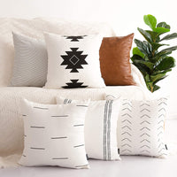 HOMFINER Decorative Throw Pillow Covers for Couch, Set of 6, 100% Cotton Modern Design Stripes Geometric Bed or Sofa Pillows Case Faux Leather 18 x 18 inch