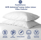 FeelAtHome 100% Cotton Waterproof Zip Pillow Protector Covers (Pack of 2, Standard) - Anti Bed Bug & Dustmite Pillowcase Cover - Hypoallergenic Zippered Pillow Encasement Pillow Case