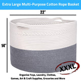 "Extra Large Cotton Rope Basket, Blanket Basket, Toy Storage Basket 22"" X 14"" - Grey Decorative Woven Basket with Handle, Sturdy Baby Bin Organizer for Pillows, Laundry, Kids Living Room by Buddy Pro"