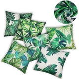 SYOSIN Tropical Green Leaves Decorations Throw Pillow Covers 6-Pack, Tropical Palm Monstera Leaves Print, Summer Green Decor, Outdoor Couch Sofa, Home Pillow Covers, 18x18 Inch
