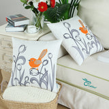 CaliTime Pack of 2 Soft Canvas Throw Pillow Covers Cases for Girls Couch Sofa Hand Drawing Cute Bird with Gray Sweet Tulip Floral Print 18 X 18 Inches Bright Orange
