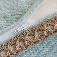 Phantoscope Pack of 2 Farmhouse Decorative Throw Pillow Covers Burlap Linen Trimmed Tailored Edges Light Turquoise 22 x 22 inches, 55 x 55 cm