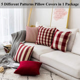 Home Brilliant Decorative Pillow Covers Red Throw Pillow Covers for Girl's Room Linen Textured Farmhouse Patterned Cushion Covers for Holiday, 18 x 18 inch(45cm), Crimson, Pack of 5