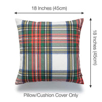 "Hofdeco Decorative Throw Pillow Cover ONLY, Gray Classic Stewart Scottish Tartan Plaid (Canvas), 18""x18"""