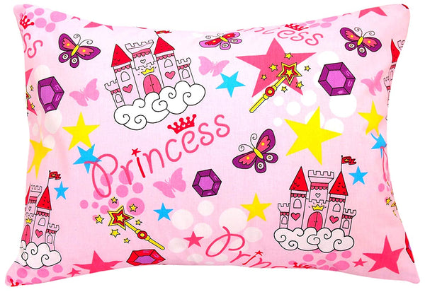Kids Toddler Pillowcase 13x18 by Comfy Turtles, 100 Natural Cotton, Soft Pillow Cover for Wonderful Sleep and Dreams, Design for Boys and Girls (Pink Castle)