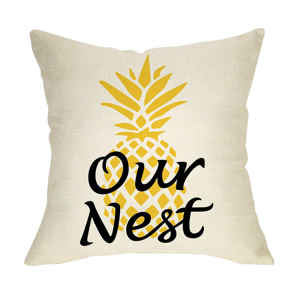 "Softxpp Our Nest Watercolor Pineapple Decoration Summer Farmhouse Throw Pillow Cover Home Decor Cushion Case Decorative for Sofa Couch 18"" x 18"" Inch Cotton Linen"