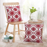 Deconovo Square Cotton Canvas Christmas Cushion Covers Red Snowflake Embroidered Pattern Cushion Covers for Individual Cushions Red and White 18x18 Inch Set of 2 No Pillow Insert