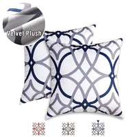 H.VERSAILTEX Velvet Plush Pillows Cover 2 Pack Soft Print Pillow Cases Decorative Square Throw Pillow Covers Set Cushion Cases Pillowcases for Sofa Bedroom Car 18 x 18 Inch, Grey and Navy Geo Pattern