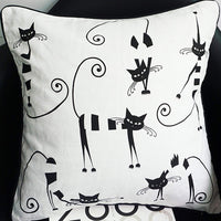 L&J ART 18'' Black & White CATS Cotton Canvas Pillow Cushion Cover
