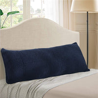 "Reafort Ultra Soft Sherpa Body Pillow Cover/Case with Zipper Closure 21""x54"" (Navy, 21""X54"" Pillow Cover)"