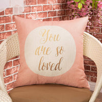 "Fjfz Blush Pink and Gold Nursery You're So Loved Motivational Sign Inspirational Quote Cotton Linen Home Decorative Throw Pillow Case Cushion Cover Sofa Couch, 18"" x 18"""