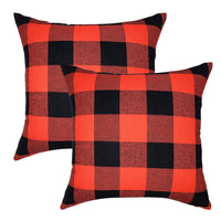 YOUR SMILE Farmhouse Buffalo Decorative Throw Pillow Covers 18x18 Inch Cushion Case Holiday Decor Cotton Canvas for Sofa,2 Pack,Red Black Check