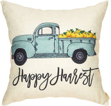 "Fjfz Happy Harvest Truck Pumpkin Fall Farmhouse Style Thanksgiving Day Cotton Linen Home Decorative Throw Pillow Case Cushion Cover Words Sofa Couch, 18"" x 18"""