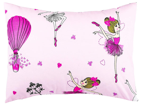 Kids Toddler Pillowcase 13x18 by Comfy Turtles, 100 Natural Cotton, Soft Pillow Cover for Wonderful Sleep and Dreams, Design for Boys and Girls (Pink Ballerina)