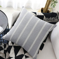 Home Brilliant Decorative Throw Pillow Covers Striped Modern Farmhouse Pillowcases for Indoor Outdoor, Set of 2, 18 x 18 inches(45x45cm), Grey Gray