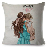 Fashion Cute Cartoon Super Mama Cushion Cover Linen 45*45cm Decor Mom and Baby Pillow Case for Sofa Home Super Daddy Pillowcase