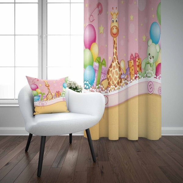 Else Birthday Party Balloons Jungle Animal Giraffe 3d Print Kids Baby Children Window Panel Set Curtain Combine Gift Pillow Case