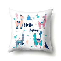 Cartoon Alpaca Llama Cover Chair Sofa Throw Pillow Case Birthday Party Decorations Baby Shower Wedding Party Supplies 45Cm