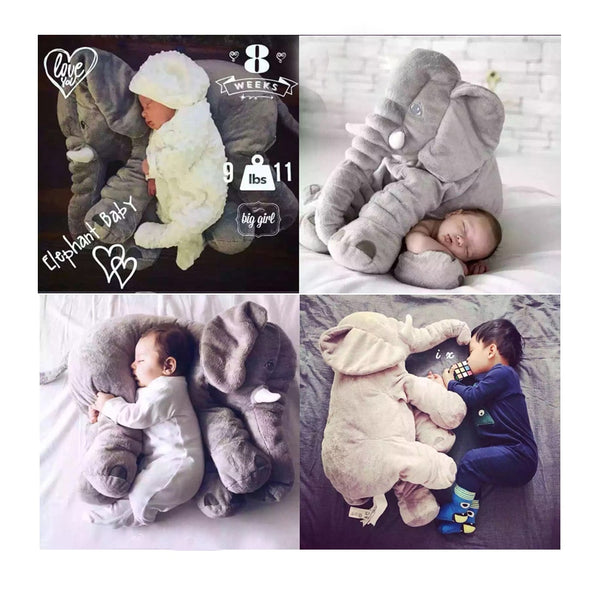 Baby Elephant Appease Pillow Kid Sleeping Back Cushion Cartoon Plush Stuffed Pillow Christmas Gift for Baby Girls Boy Gift