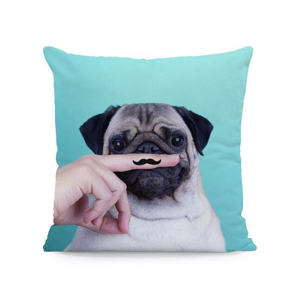 Cuteness Pug Love Dog Cushions Beige Pillow Case Simple Bedroom Baby Birth Gift Decor Home Throw Pillows Cover Square Peach Skin