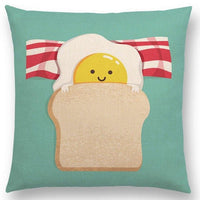 Cartoon Cushion Cover Little Baby Happy Days Warm Heart Funny Fruits Cute Food Colorful Pillow Case