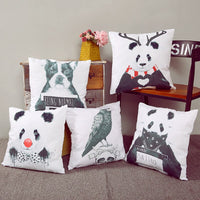 Cushion Cover Cute Panda Cotton Linen Bird Throw Pillow Case Baby Room Decorative Sofa Chair Seat 45*45Cm/17.7*17.7''