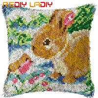 Latch Hook Kits Make Your Own Cushion Rabbits Baby Pre-Printed Canvas Crochet Pillow Case Latch Hook Cushion Cover Arts & Crafts