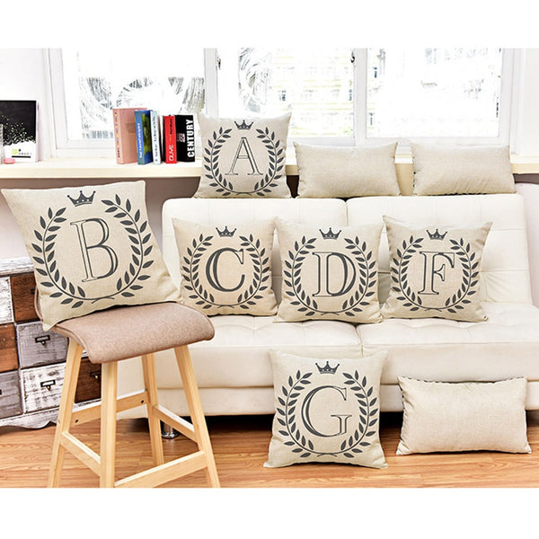 Alphabet Baby Learning Pillows Home Decor A-Z letter Cushion Cover European Nordic Letter DIY Throw Pillow Case Proposal Ideas
