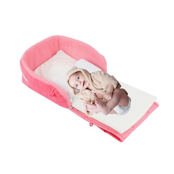 Newborn Wrap-around Care Bed Crib Baby Sleeping Anti-pressure Bed With Folding Portable Built-in Double Mattress Waterproof Pad