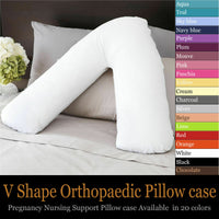 100% Cotton V-Shaped Pillow Case Cover Pregnancy Maternity Orthopedic Support