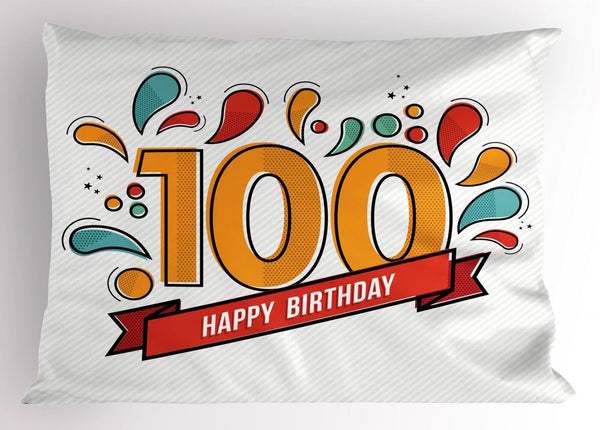 100th Birthday Pillow Sham Decorative Pillowcase 3 Sizes Bedroom Decor